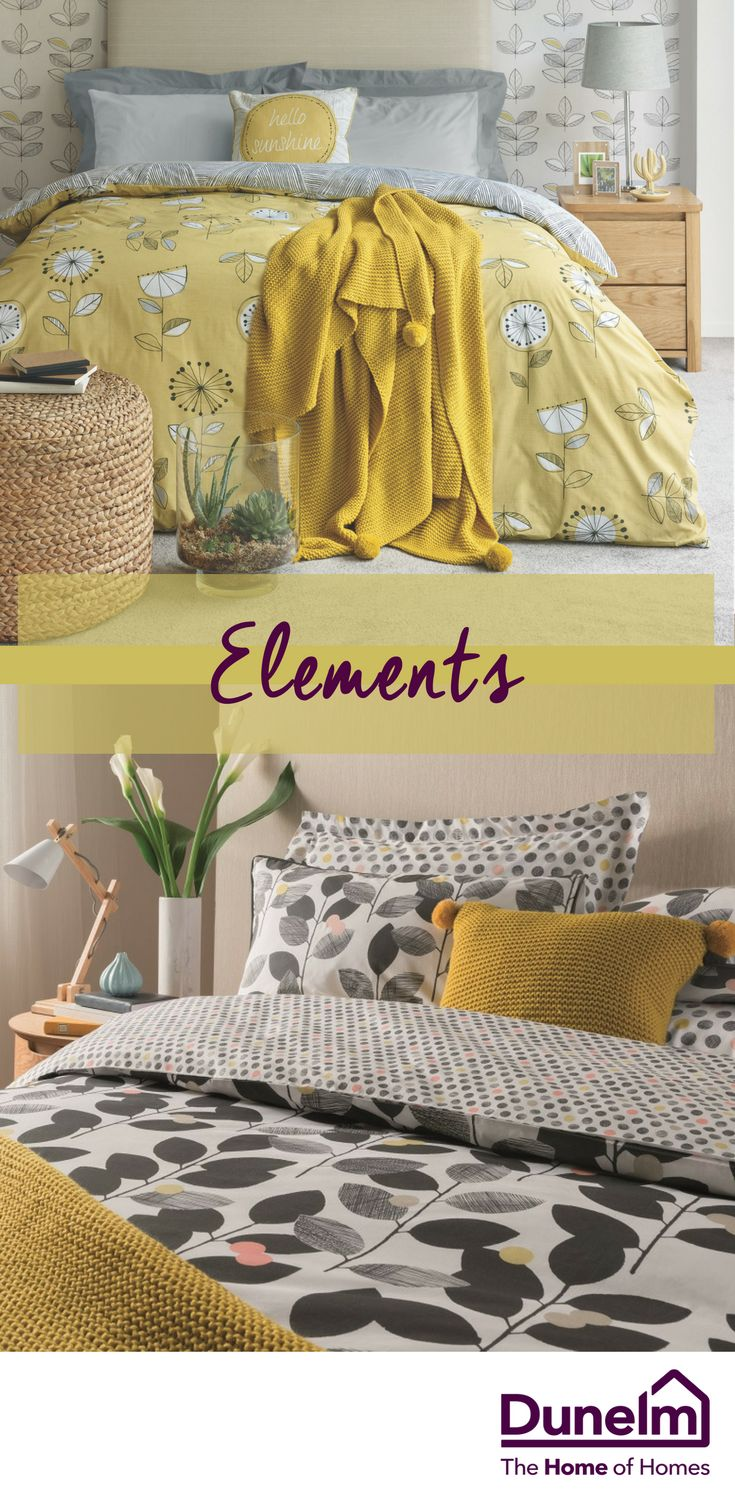 This season, our Elements brand takes on a more sophisticated mid-century influence, while still offering a contemporary sense of fun. Pops of ochre and orange make an impact against a clean neutral backdrop, with stylised fruit and leaf prints taking centre stage beside geometric patterns. Add this refreshing take on skandi-chic to your bedroom to create a simple but iconic look this season.