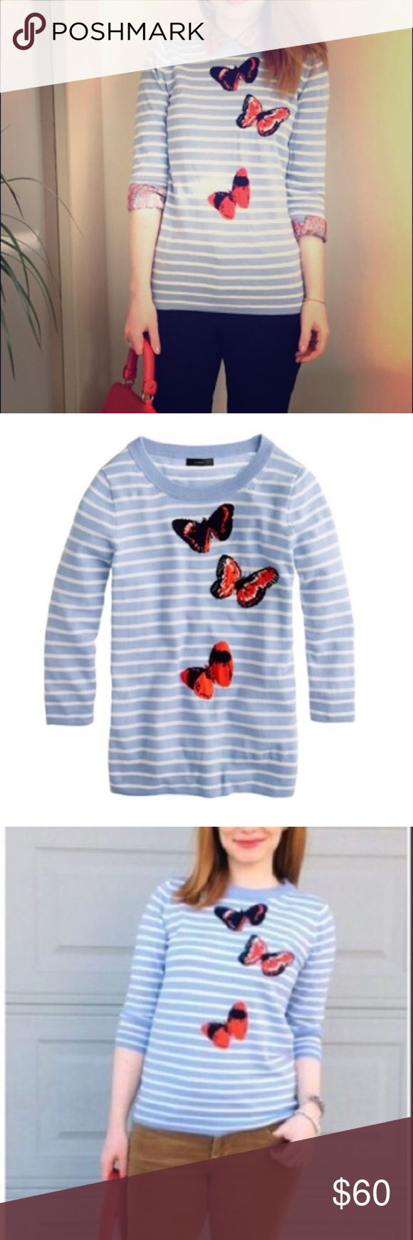 J. CREW Tippi Sweater Striped Monarch Butterfly We combined three of our favorite things to create one must-have piece: our classically styled merino Tippi sweater, crisp stripe, and a vibrant monarch butterfly motif from our women's designer that was inspired by the vivid botanicals he used to look at in Time Life nature books as a child. It's intarsia knit, which means the design is knit into the sweater instead of on top (a much more difficult process, but it's the key to getting the…