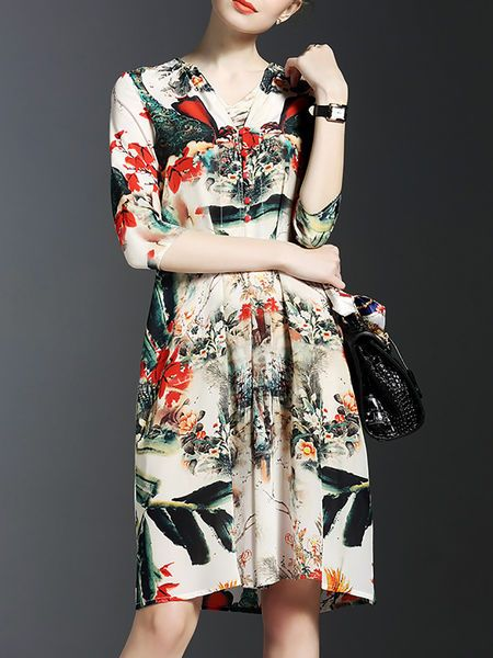 Printed Silk #Midi #Dress