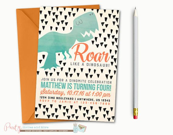 Dinosaur Birthday Invitation, Dinosaur Invitation, Dinosaur Birthday Party, Watercolor Dinosaur Invitation, Watercolor Invitation, Dinosaurs