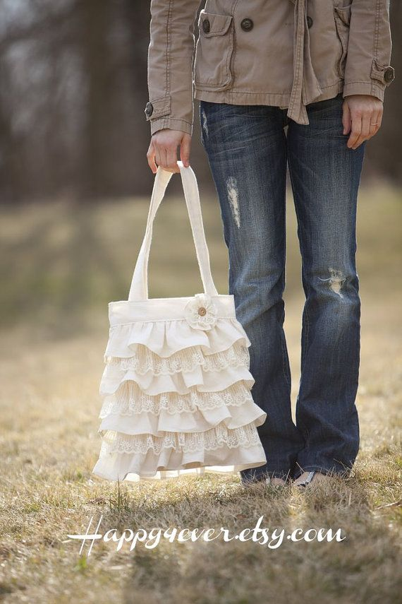 Ruffles and Lace Purse by happy4ever on Etsy, $53.00 - love the alternating ruffles with lace and the flower! @Denise H. Fox