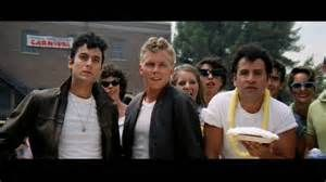 ... beginning: Jeff poses as Kenickie with his fellow Grease cast members