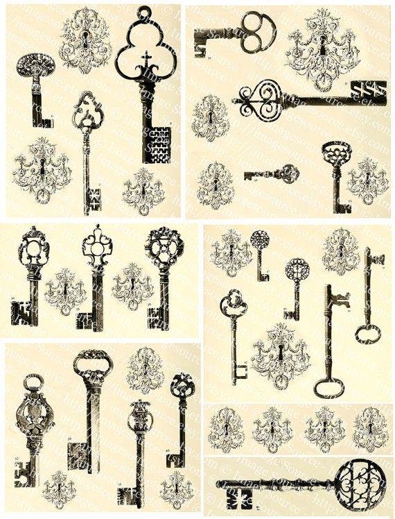 Fancy Vintage Keys And Locks Black White By ImageSource