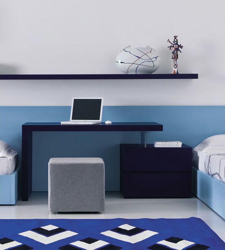 Stylish and Modern Work Desk in Some Style by Pianca: Domino Desk With Drawers comes with blue shades