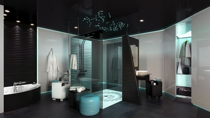 Un style futuriste, pour cette salle de bain, exprimé par les lignes des meubles aux couleurs personnalisables. Le miroir et l'armoire miroir sont coordonnés. Le carrelage mural intègre un éclairage LED avec variateur de lumière, pour mieux vous plonger dans l'ambiance de votre choix.