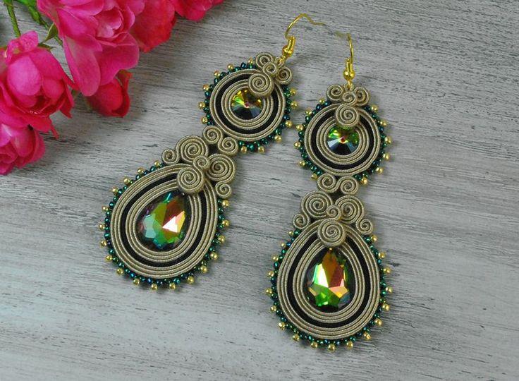 Chandeliers - Oorbellen Black soutache earrings Swarovski - Een uniek product van PollartBijou op DaWanda