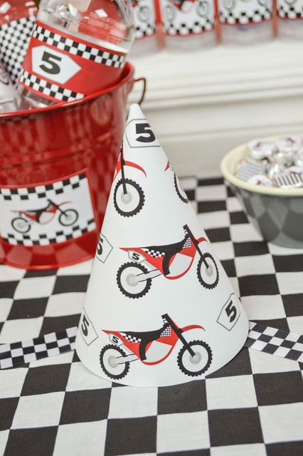 Party hats at a Dirt Bike Birthday Party!  See more party ideas at CatchMyParty.com!