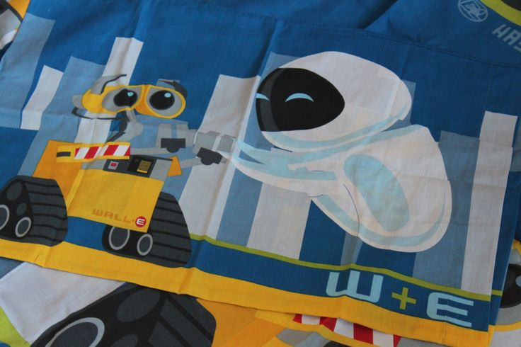 Wall E Pixar Disney Single Duvet Cover & Pillowcase Upcycling Material Disney Fabric OOAK by AtticBazaar on Etsy