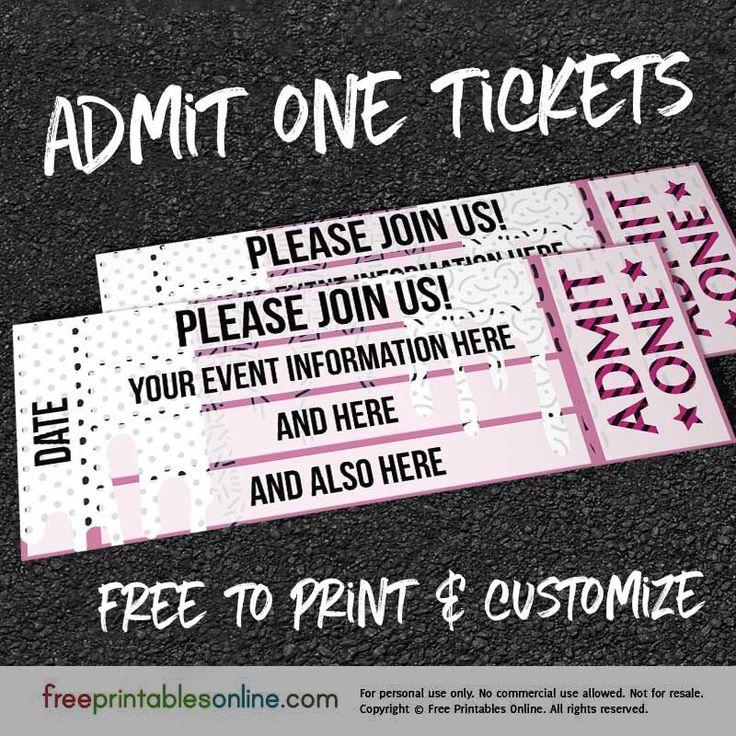 free printable funny0th birthday invitations%0A Free Printable Event Ticket Templates  Free Printables Online    Event  ticket  Ticket template and Free printables