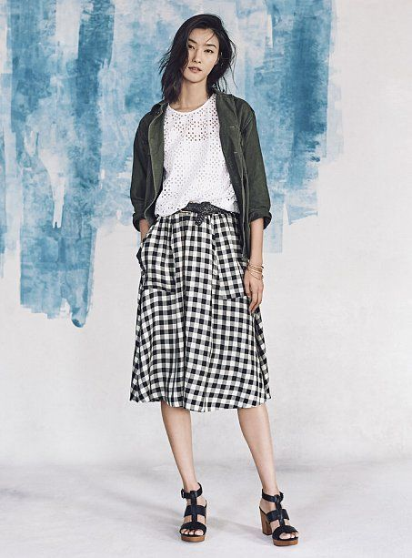 A gingham skirt will be our spring must-have