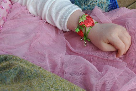 Cute Red Strawberry bracelet headband anklet by InMyFairyGarden