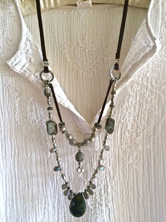 labradorite luxe- double strand leather necklace rare blue gray silver beads bells adjustable sundance style boho huge gemstone pendant