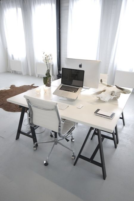 white with chrome and black accents for the home office - lovely trestle table