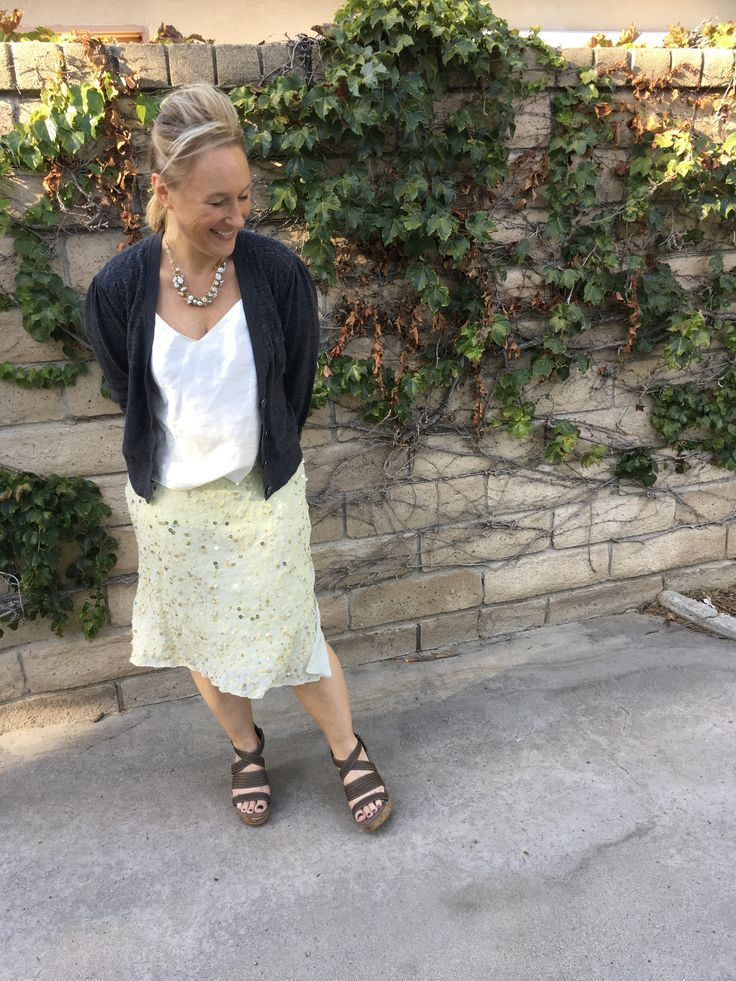 Fashion over 40 / embellished yellow skirt