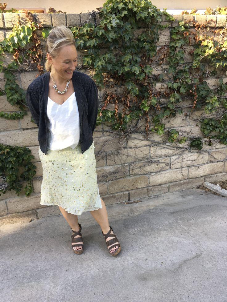 Fashion over 40 / embellished yellow skirt