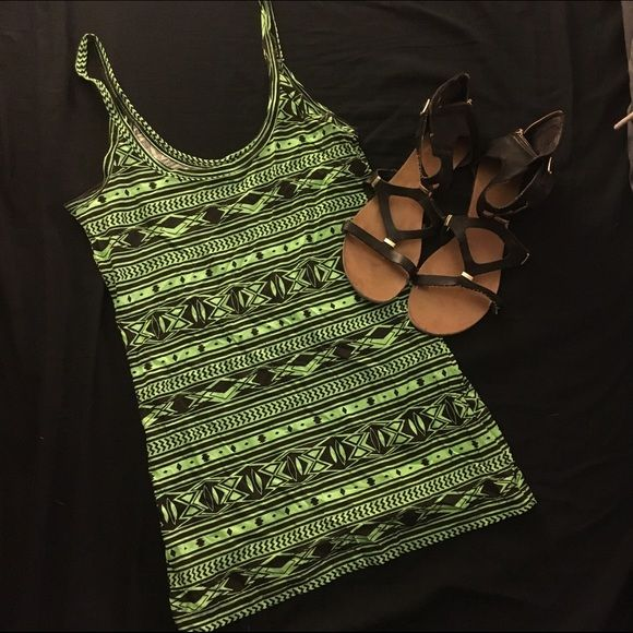 ‼️SALE‼️Aztec cami! Neon green and black Aztec spaghetti strap! NWOT. 100% cotton. Comfortable material and will stretch! No Boundaries Tops Camisoles
