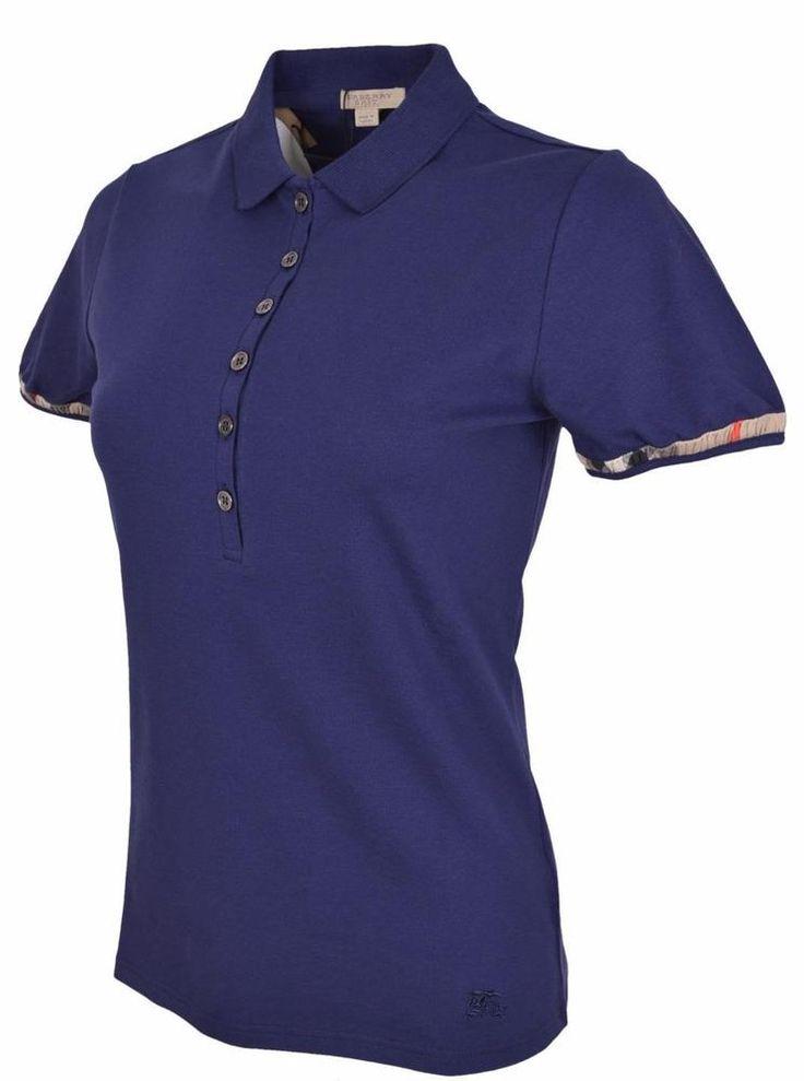 New Burberry Brit Women's $145 Indigo Blue Cotton Nova Check Polo Shirt S…