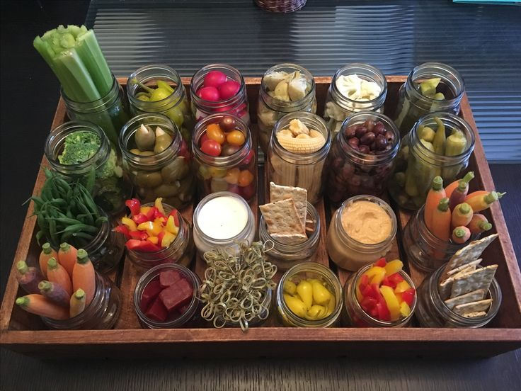 Relish Tray Healthy Appetizer. Huge hit! Mason jars from Walmart and tray from Home Goods. #masonjar #appetizer #relishtray #healthy #food