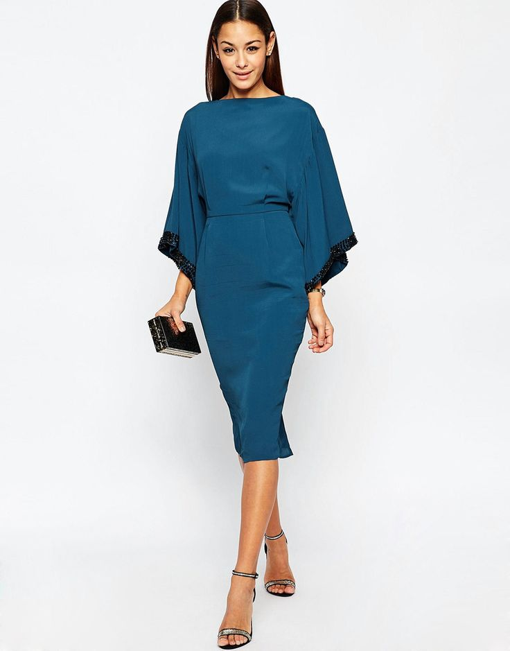 Asos Embellished Trim Kimono Midi Dress From Http