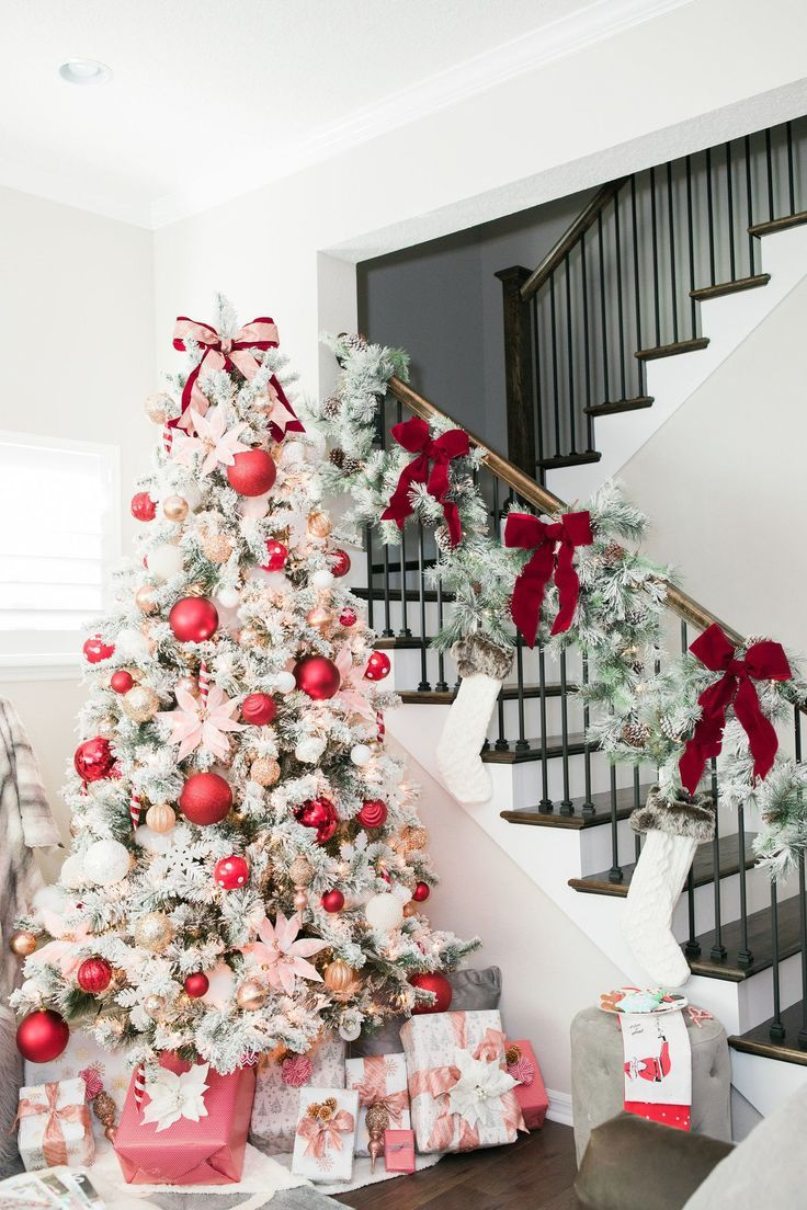 White Flocked Whimsical Glamorous Christmas Tree Decorated With Blush Pink And Red Glam Christmas Tree Red Christmas Decor Flocked Christmas Trees Decorated