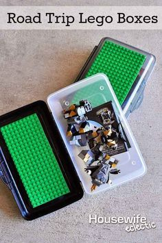 Glue some extra building board to the top of pencil boxes to make it easy to bring Legos on the road.