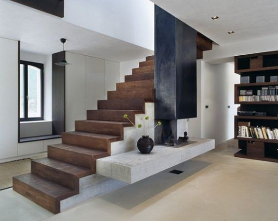 Laminate flooring for stairs with dark finish