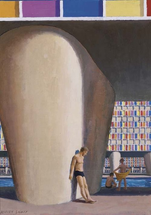 Jeffrey Smart (Australian, b. 1921), Study for Motel Swimming Pool, 1970-71. Oil on canvas on board, 40.6 x 29.4 cm