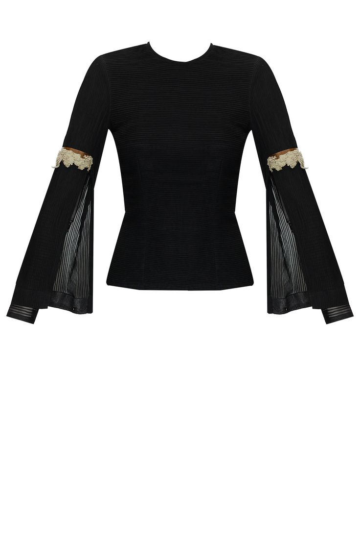 Black double sleeves crop top available only at Pernia's Pop-Up Shop.