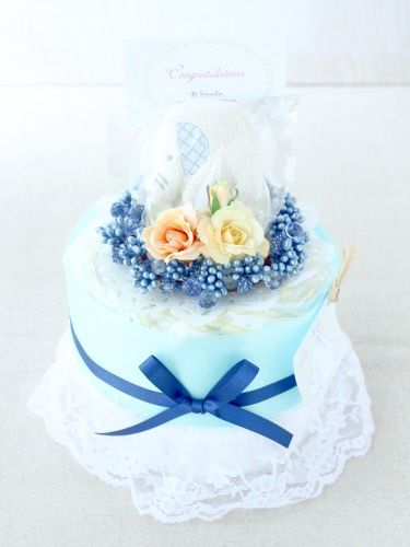 【おむつケーキ】ミニ/1段/ブルー|おむつケーキの店アンドラブリー*&Lovely