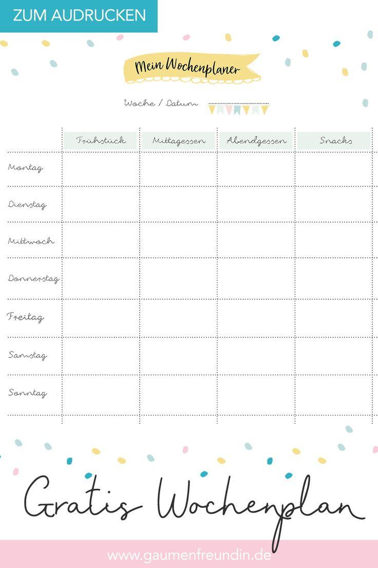 Gratis Wochenplan Vorlage zum Ausdrucken für den Speiseplan