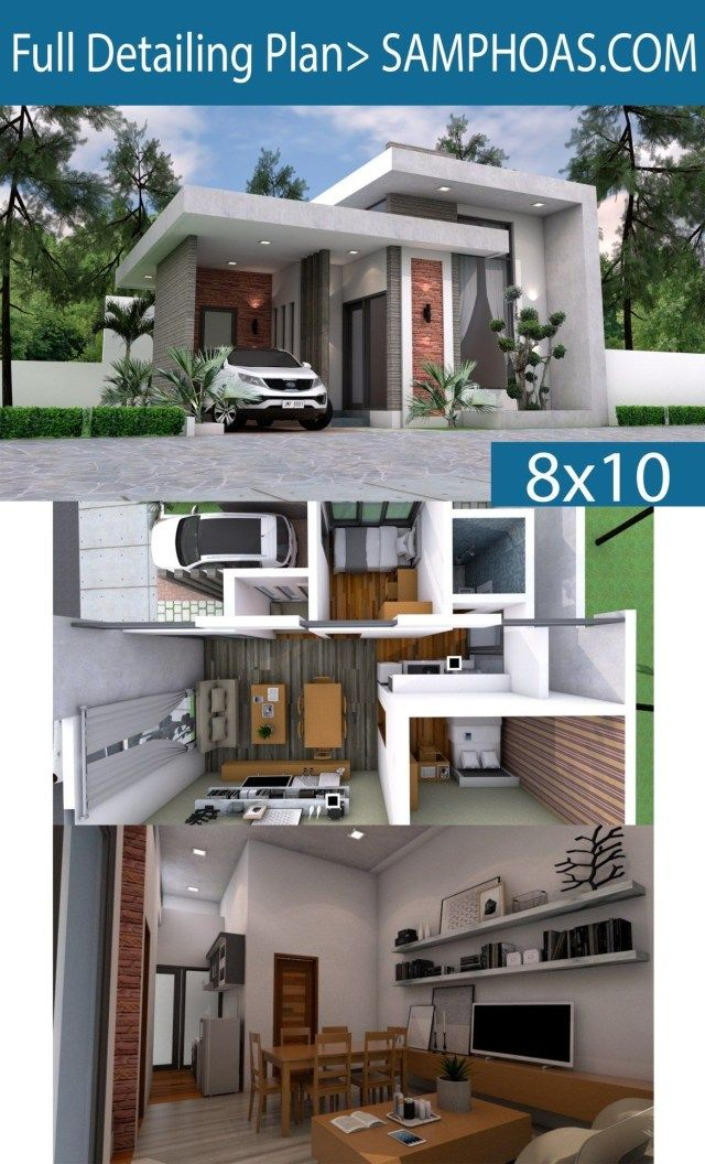 56 Popular Interior Design One Story House 8x10m Dream Home Small One Storey House Modern House Design Small Modern House Plans