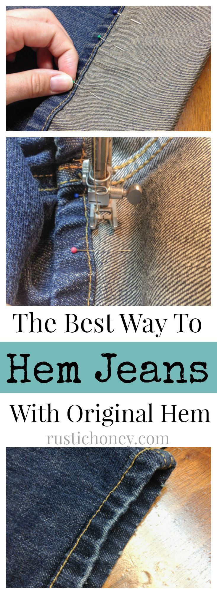 Hem Jeans Like A Pro! I had no idea I was doing this wrong! The best way to hem your jeans without losing the detail of the bottom hem!