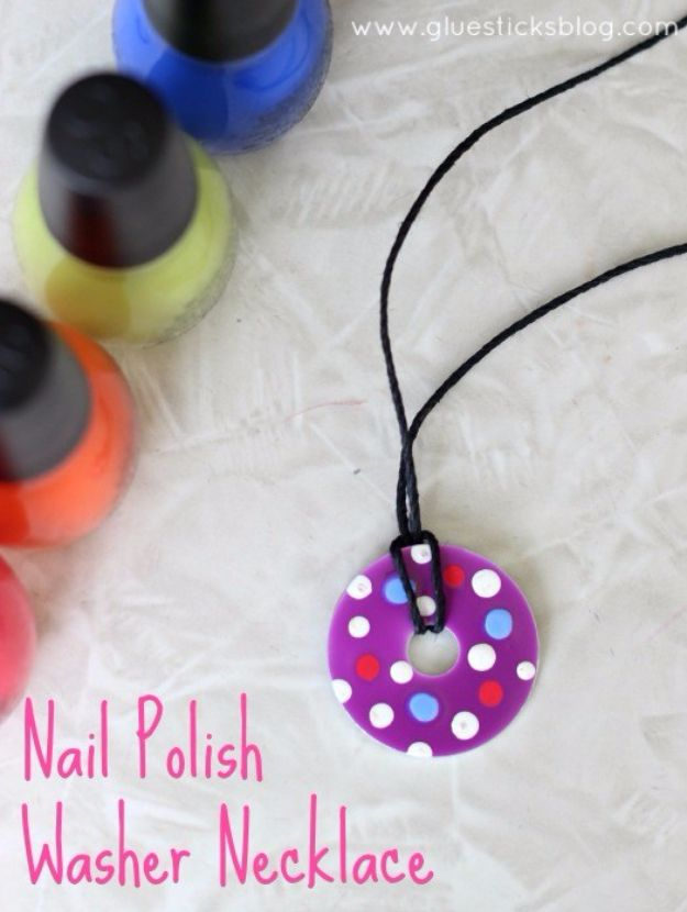 DIY Nail Polish Crafts - Nail Polish Washer Necklace - Easy and Cheap Craft Ideas for Girls, Teens, Tweens and Adults | Fun and Cool DIY Projects You Can Make With Fingernail Polish - Do It Yourself Wire Flowers, Glue Gun Craft Projects and Jewelry Made From nailpolish - Water Marble Tutorials and How To With Step by Step Instructions http://diyjoy.com/nail-polish-crafts