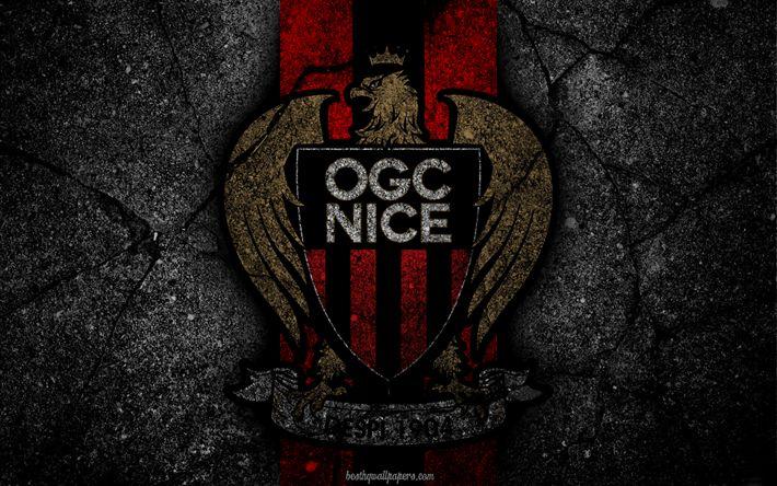 Download wallpapers Nice, logo, art, Liga 1, soccer, OGC Nice, football club, Ligue 1, grunge, Nice FC