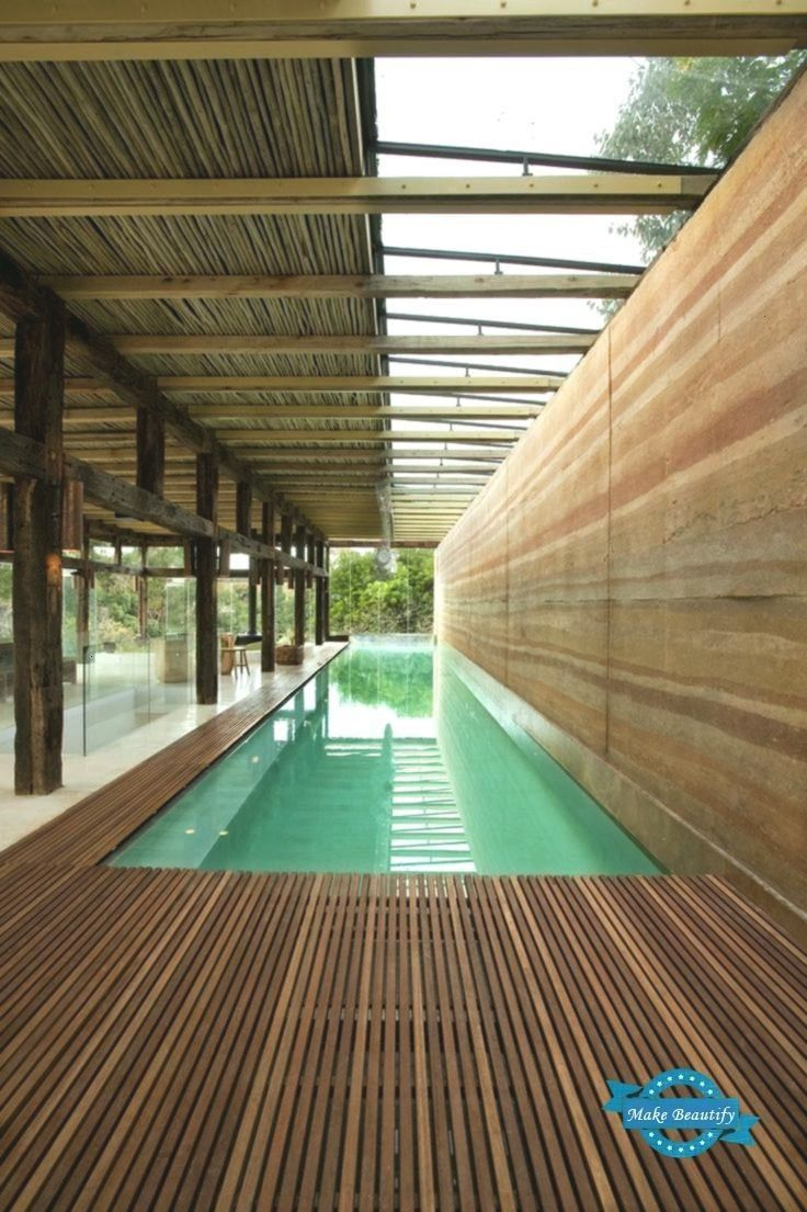Dalrymple Pavilion Indoor Africa Rammed Earth South Wall With Pool The Lap At In Indoor Swimming Pool Design Indoor Pool Design Small Indoor Pool