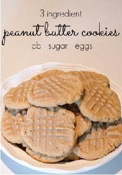 3 Ingredient Peanut Butter Cookies – All you need are peanut butter, sugar, and eggs!