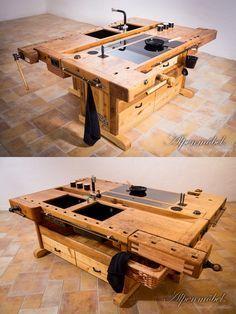 Arranged cooking island with two carpenters workbenches! 2 Teilige Kochinsel, daher je nach Geschmack kombinier- und frei im Raum aufstellbar!