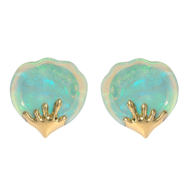 TIFFANY & CO. Opal Earrings | From a unique collection of vintage clip-on earrings at http://www.1stdibs.com/jewelry/earrings/clip-on-earrings/