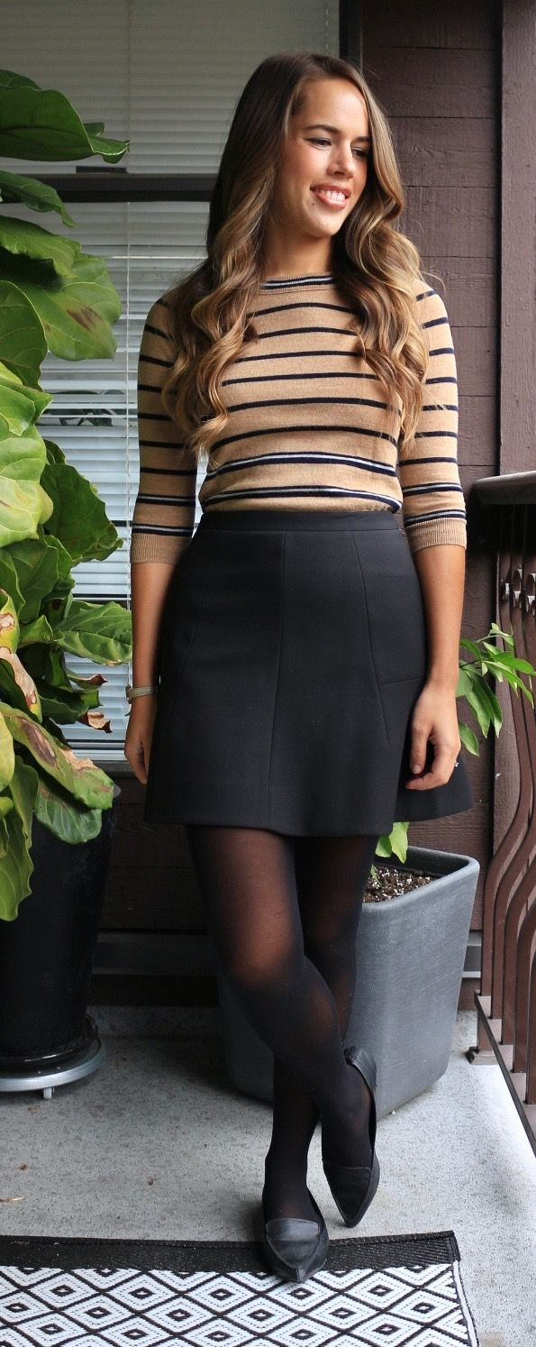 Jules in Flats - Business Casual Work Outfit Idea - Striped Sweater and Skater Skirt