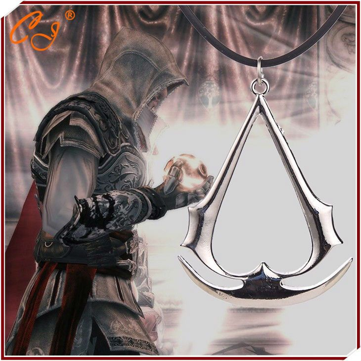 Wholesale 2016 Pendant Freeshipping assassins creed necklace game vintage Ezio Deiss  silver gold color leather rope jewelry