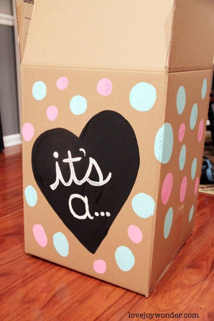 Pink And Blue Gender Reveal Diy Painted Party Balloon Box For Balloon Gender Reveal Gender Reveal Diy Gender Reveal Box Baby Gender Reveal Party
