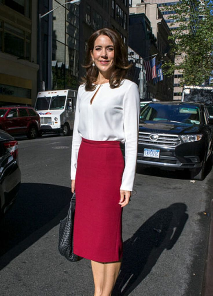 Crown Princess Mary wearing ELISE GUG white shirt with pearl detail.