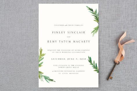 """Simple Pine Branches"" - Rustic, Simple Wedding Invitations in Vanilla by Nikkol Christiansen."