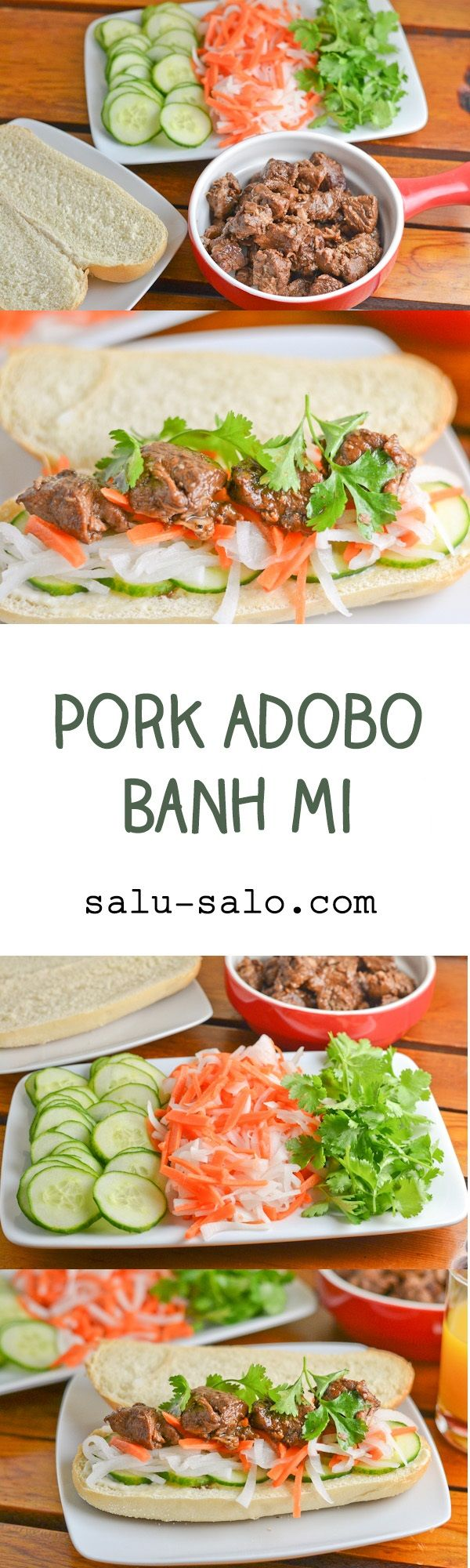Pork Adobo Banh Mi - a popular Vietnamese sandwich with a Filipino twist.