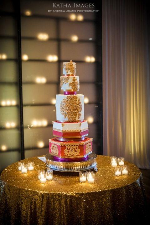 red gold indian style wedding cake #indian #shaadi #wedding