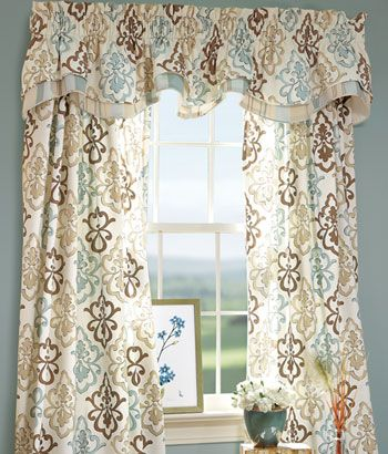 Medallion Print Lined Layered Scalloped Valance This Would Brighten Up The Light Blue Den Colors For Living RoomCountry CurtainsLiving