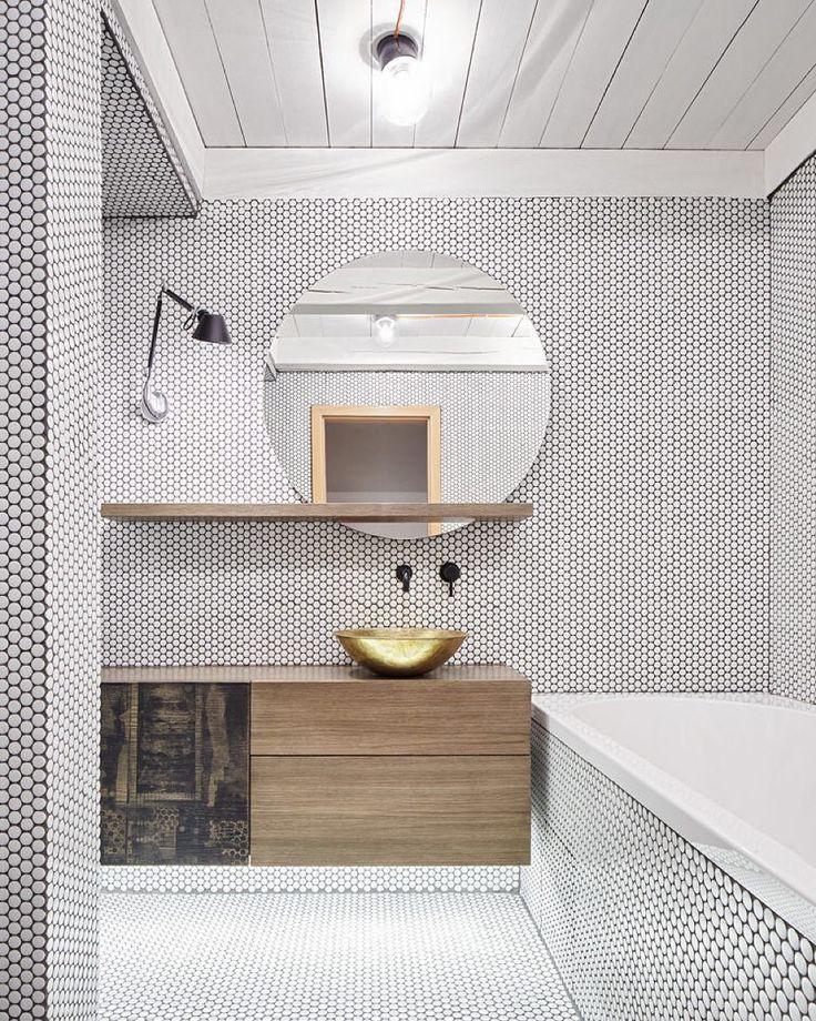 penny tile in bath
