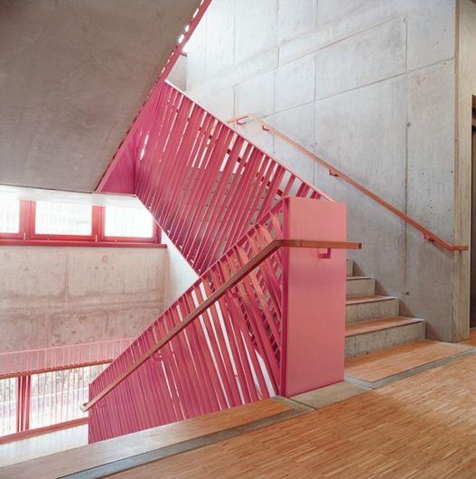 Creative use of flat steel to form balustrade. Original colour to. Via dailytonic