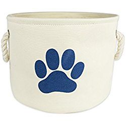 Bone Dry DII Dog Toy And Accessory Round Storage Basket, Off White, 12