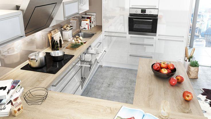 Küche mit Theke Hochglanz Weiss: